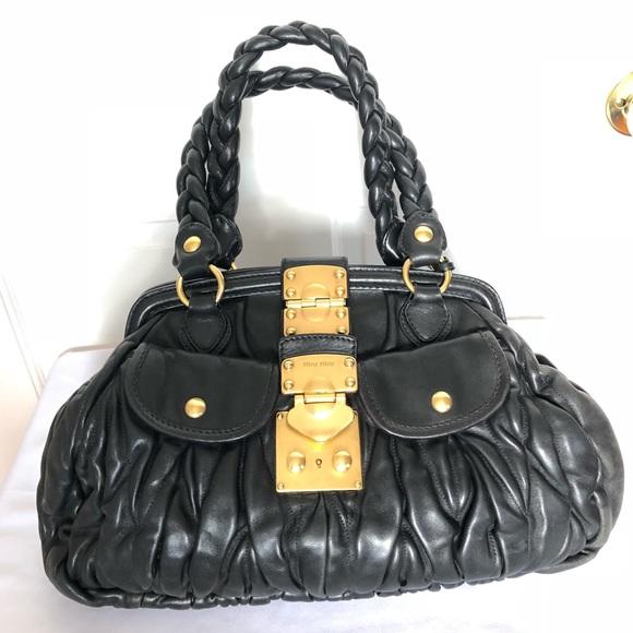 3a6080b5ca96 Miu Miu Prada Black Lambskin Leather Tote Handbag.  M 5bac16dd03087c3aa95e1be5
